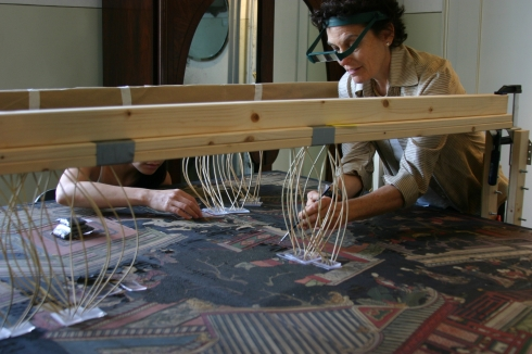Pamela Hatchfield and Amy Tjiong setting down lacquer  Photo:  Jessica Pace