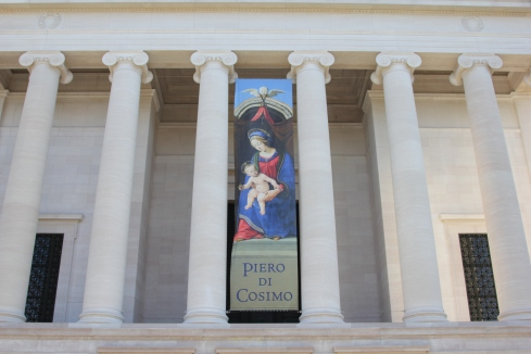 Piero di Cosimo exhibition banner on the main facade of the National Gallery of Art's West Building