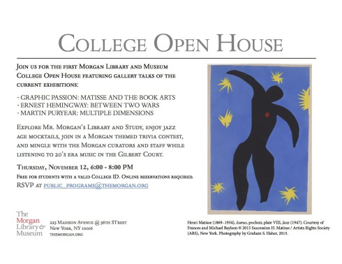 College Open House at the Morgan Library, Thursday, November 12th, 6:00-8:00 PM!