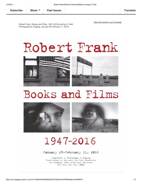 Robert Frank Books & Films Exhibition coming to Tisch