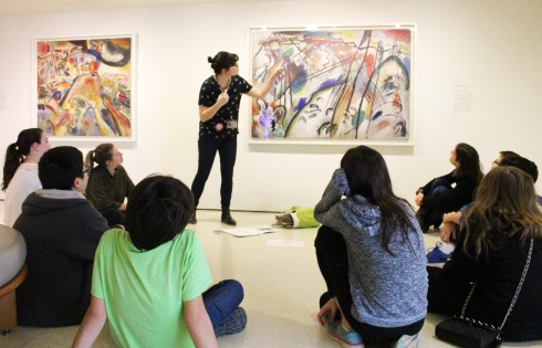 Carolyn Keogh teaching during a recent workshop designed for middle schoolers that focused on using the work of Vasily Kandinsky as inspiration for digital animated artworks