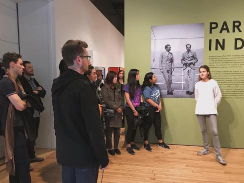 08 Julia Drayson leads an FAS tour of _Partners in Design_ at the Grey Art Gallery November 18 2017