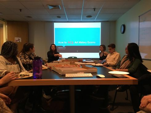 11 FAS_Spring 2018_Meet & Greet_Pizza Social February 6 2018 -- FAS members reveal the secret to acing art history exams!